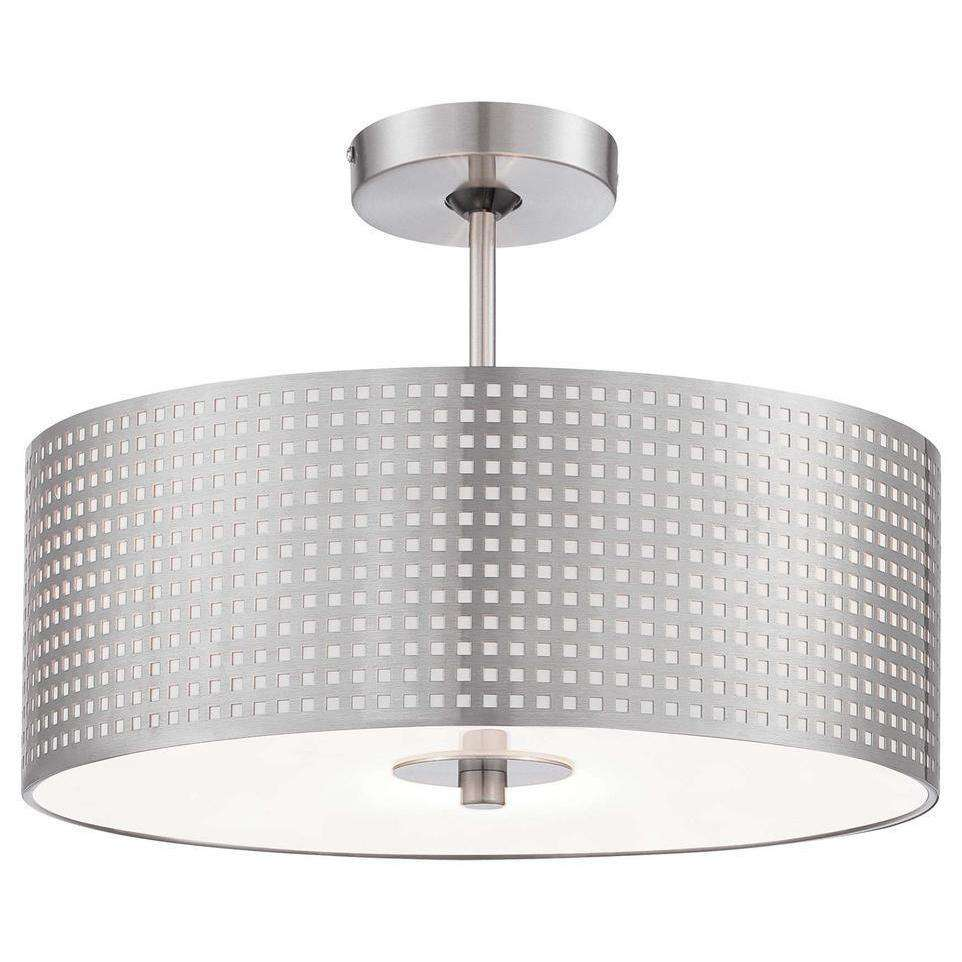 Grid 3 Light Semi Flush Mount Brushed Nickel