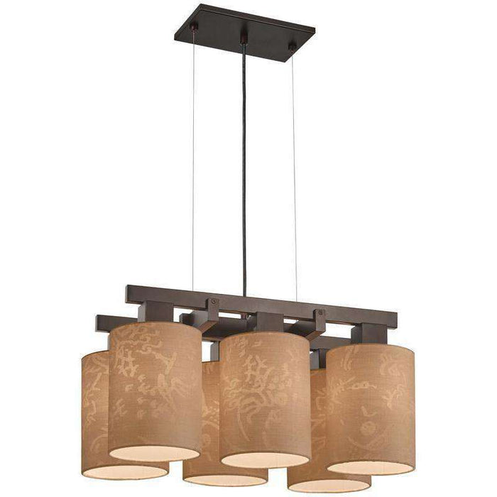 Kimono 6 Light Chandelier Antique Dorian Bronze