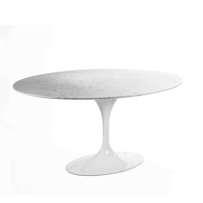 Carrara Marble Tulip Dining Table - 60 x 42 Oval
