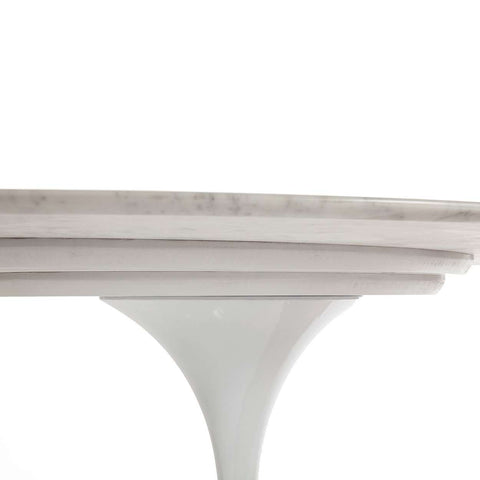 "Carrara Marble Tulip Dining Table - 79"" Oval - space saving"