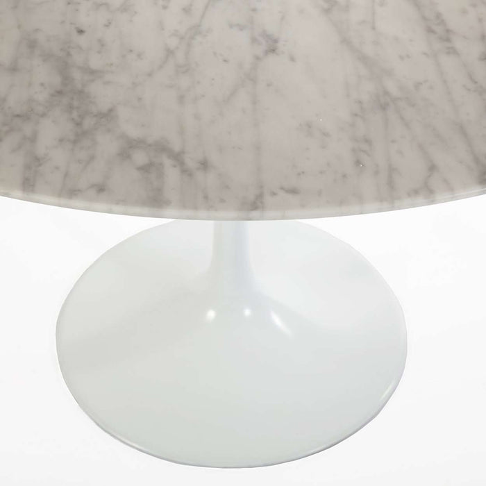 "Carrara Marble Tulip Dining Table - 79"" Oval"