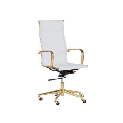 Alexis Office Chair - Gold - White