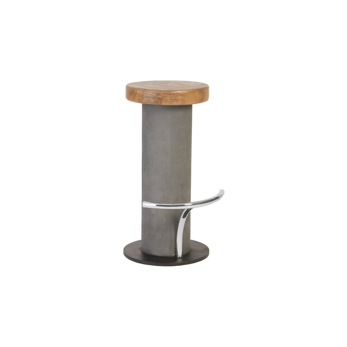 Concrete Bar Stool, Chamcha Wood Top, Stainless Steel Footrest