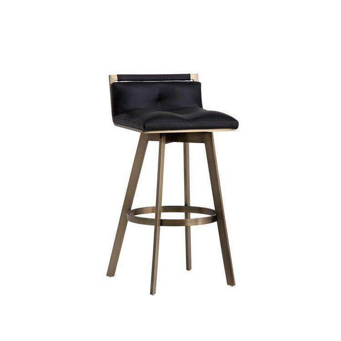 Arizona Swivel Counter Stool - Antique Brass - Black