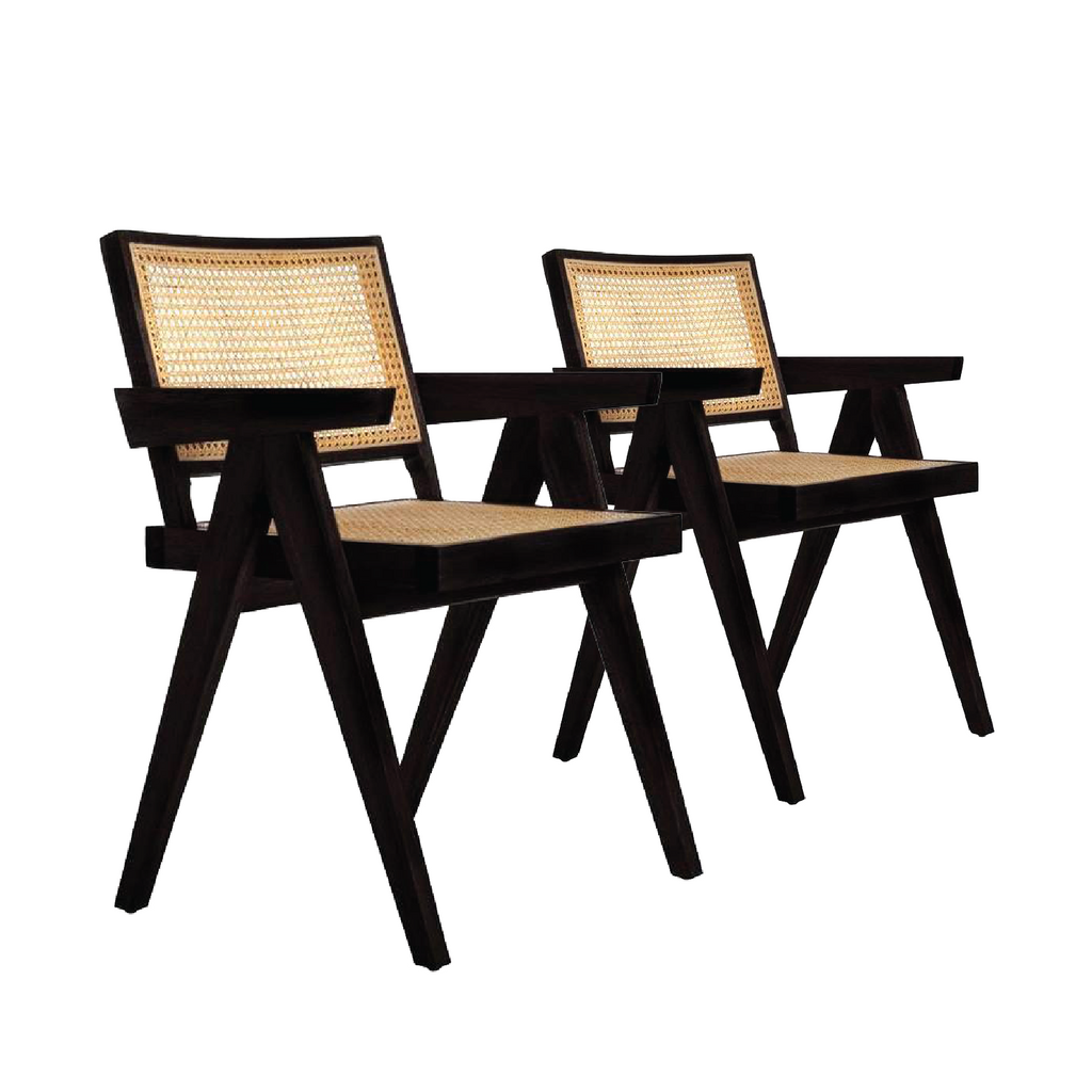Mid Century Jeanneret Armchair - Black [set of 2]