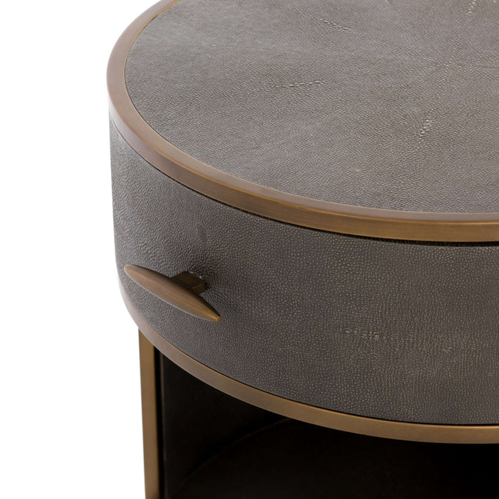 Shagreen Round Nightstand - Antique Brass