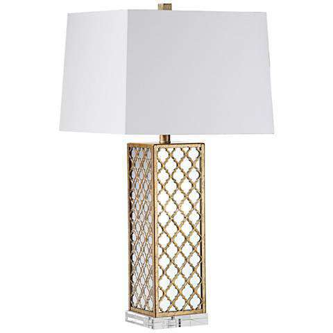 "30""H Quatrefoil Square With Mirror Table Lamp"
