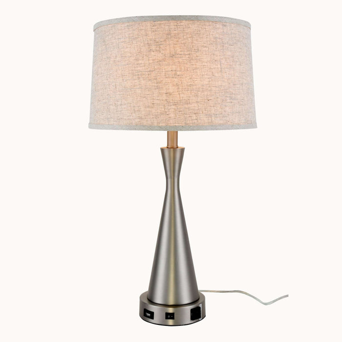 Brio Collection 1-Light Vintage Nickel Finish Table Lamp