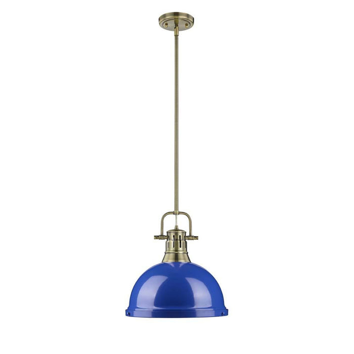 Duncan 1 Light Pendant with Rod in Aged Brass