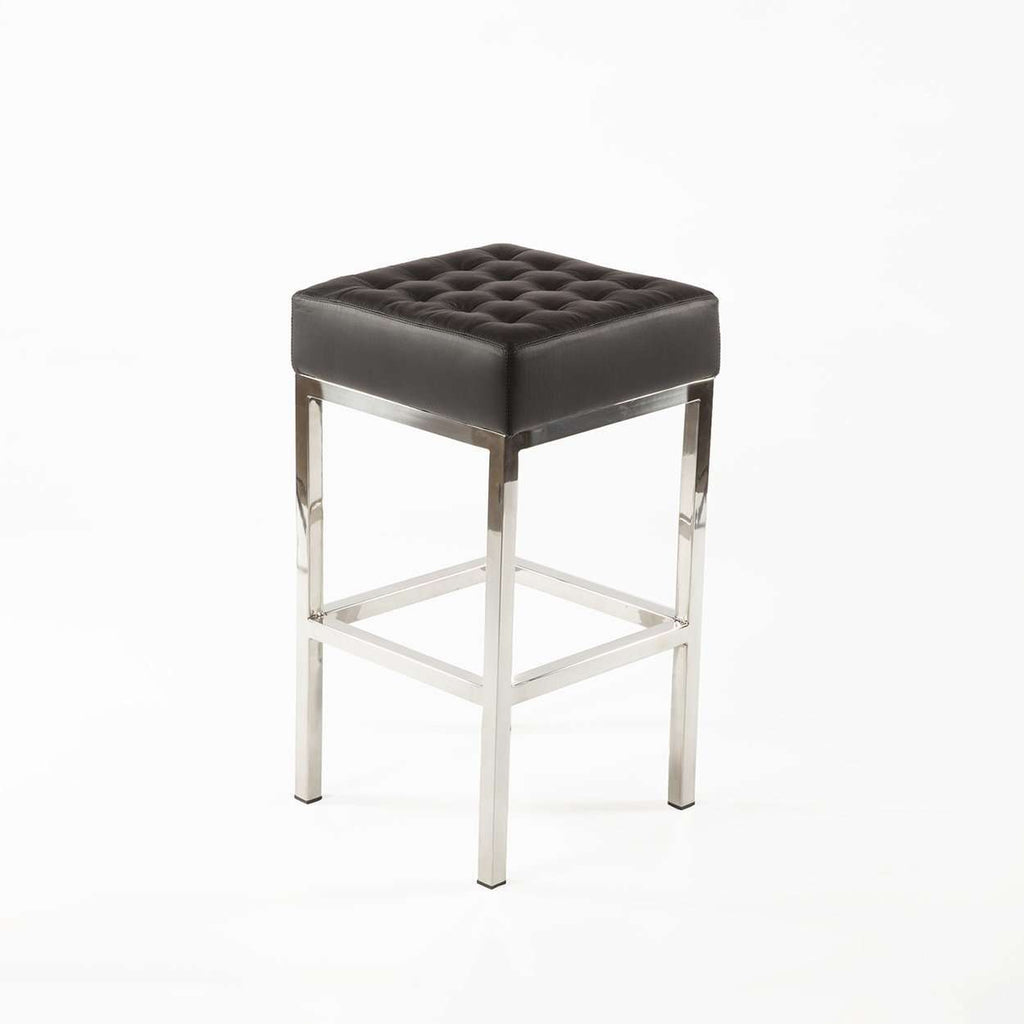 Mid-Century Modern Vadso Counter Stool - Black Tufted Leather