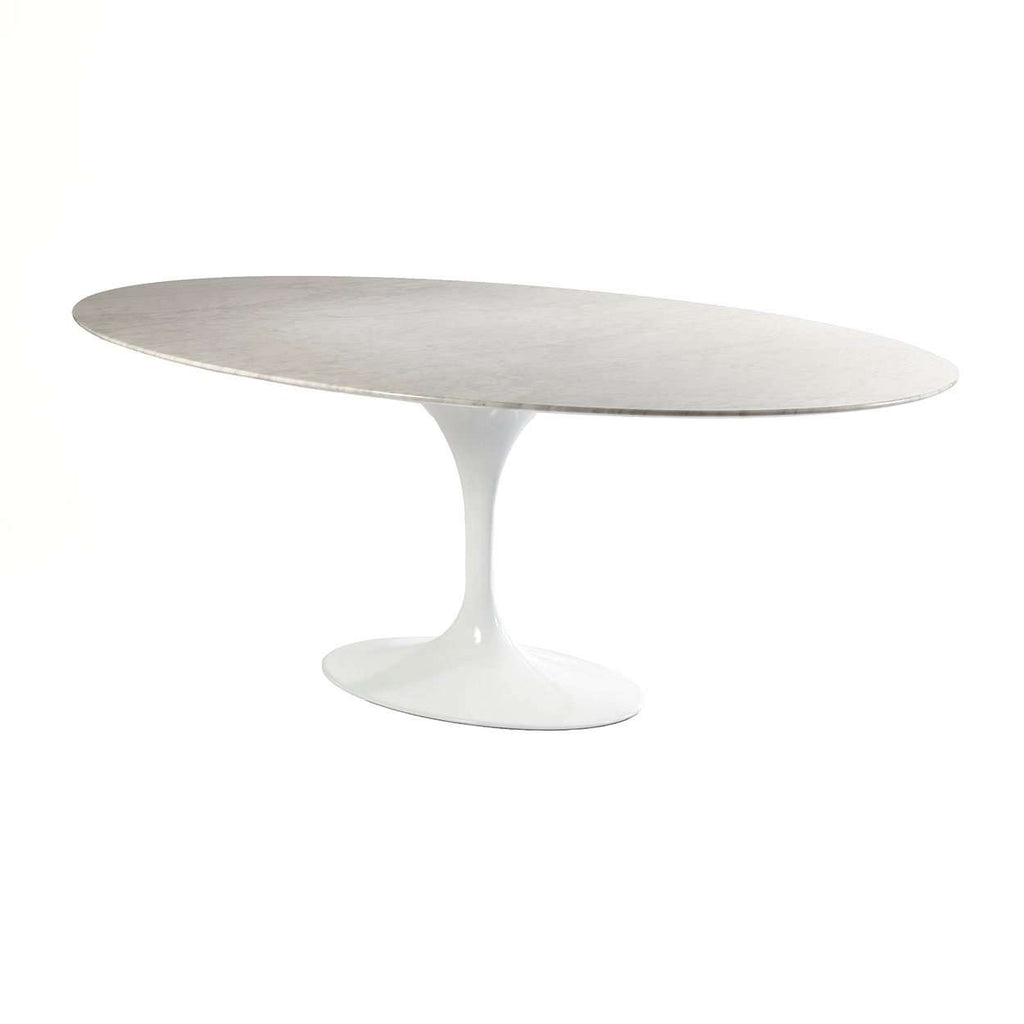 MidCentury Modern Reproduction Marble Tulip Dining Table Oval - Black marble tulip dining table