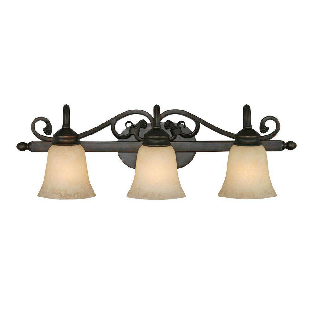 Belle Meade 3 Light Bath Vanity in Rubbed Bronze with Tea Stone Glass
