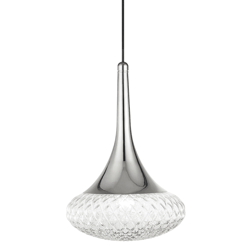 "Bella 1 Light ""D"" Pendant - Polished Nickel"