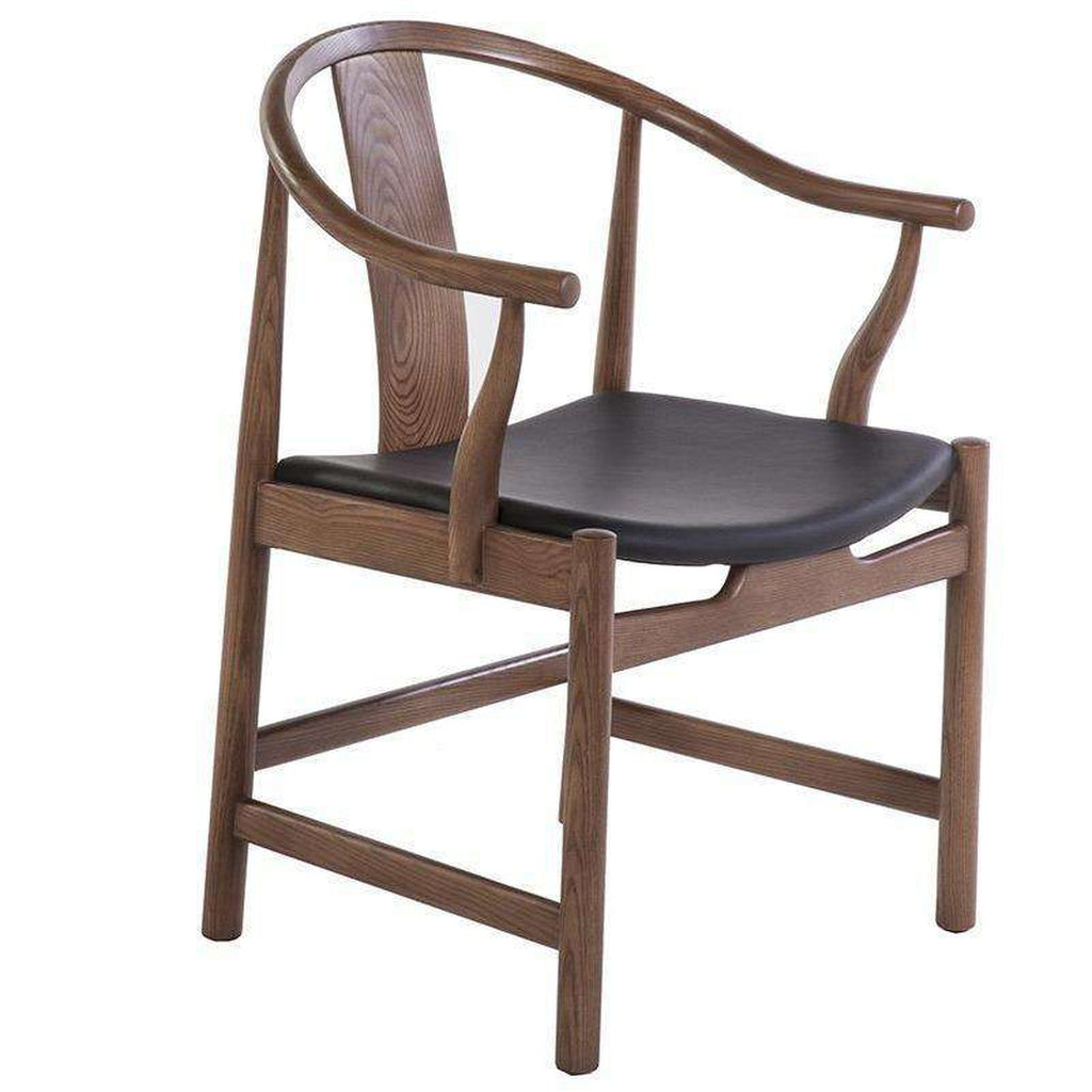 Mid-Century Modern Reproduction PP56 China Chair with Black Leather Seat Inspired by Hans Wegner