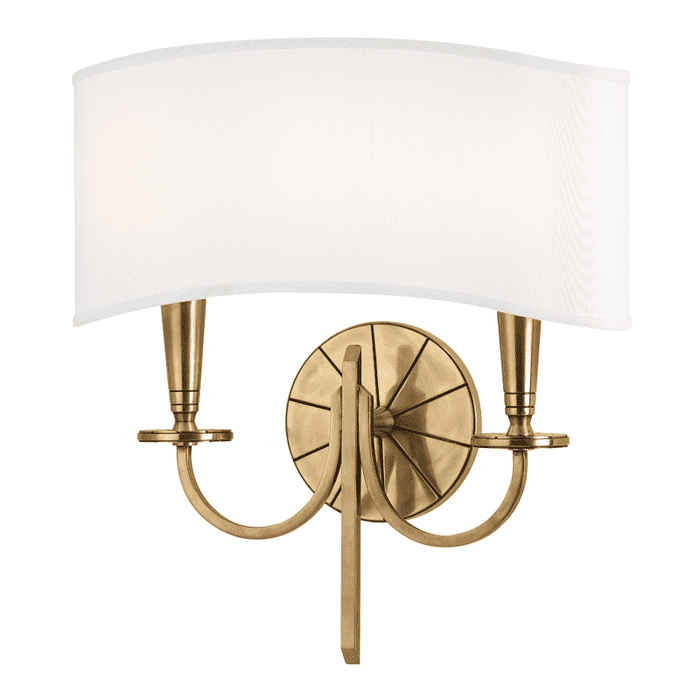 Mason 2 Light Wall Sconce Aged Brass