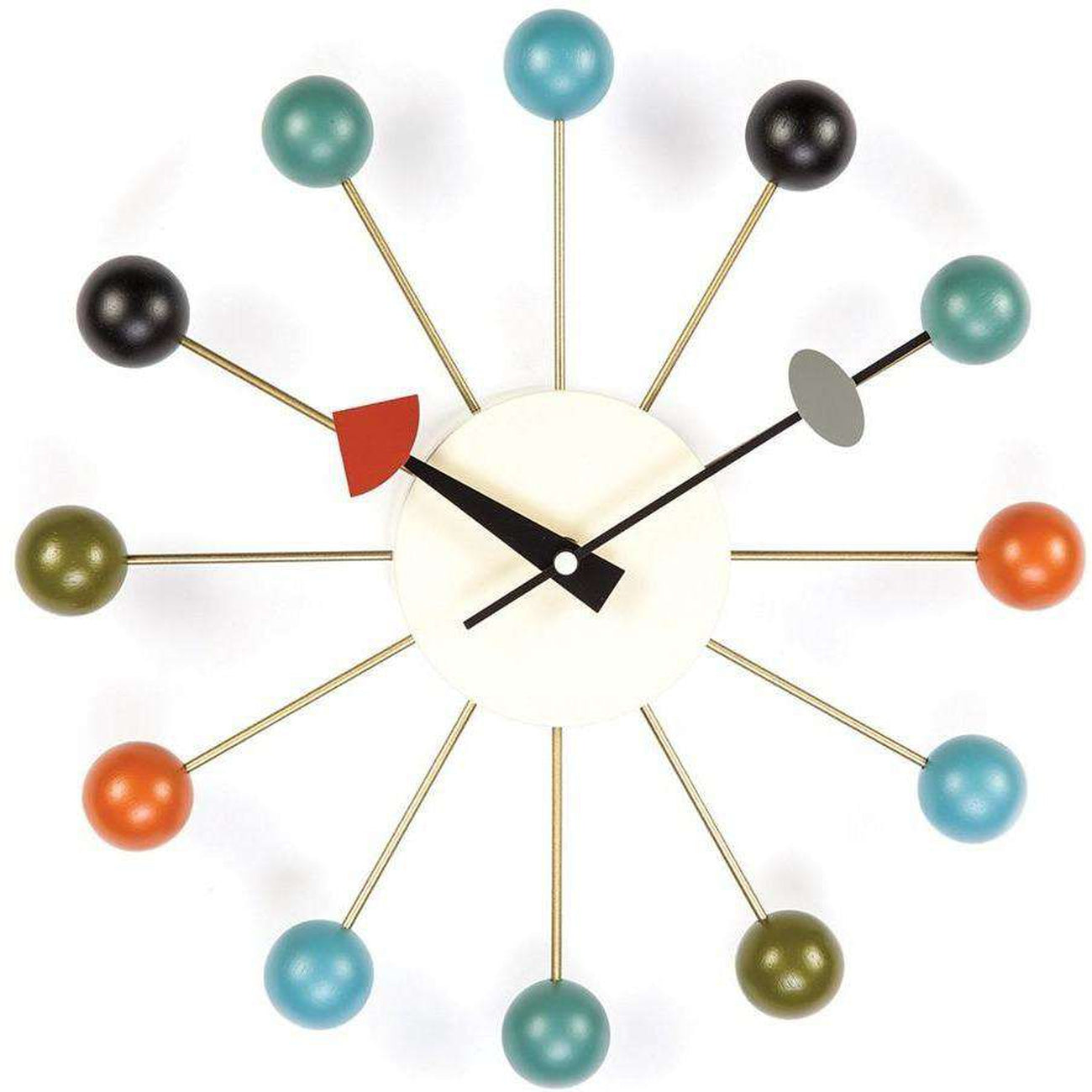 mid century modern clock Mid Century Modern Reproduction Ball Clock   Multi color Inspired  mid century modern clock
