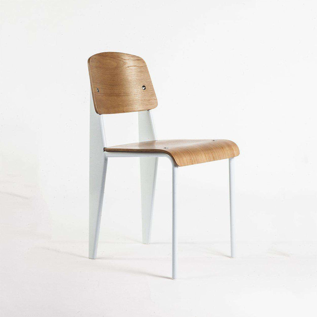 Mid-Century Modern Reproduction Standard Chair - White Inspired by Jean Prouve