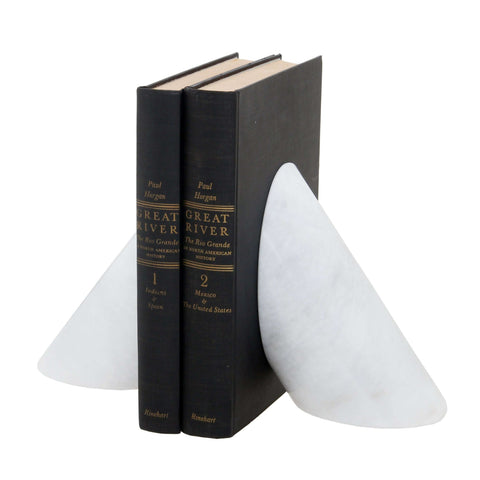 Coronet Collection Pearl White Marble Bookends