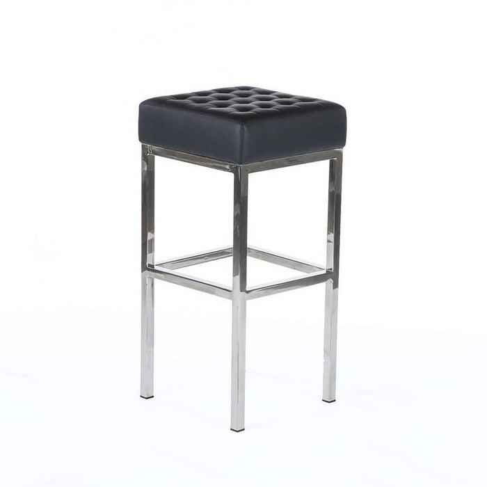 Mid-Century Modern Vadso Bar Stool - Black Tufted Leather