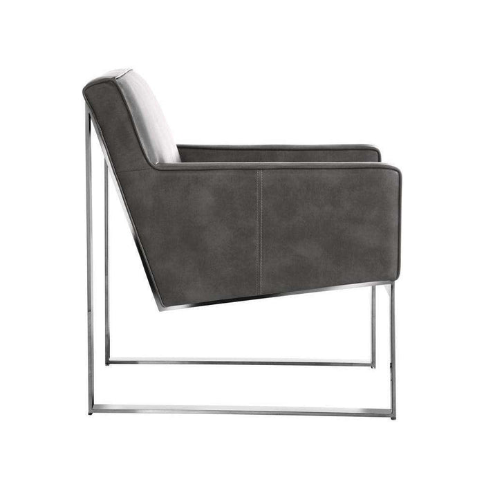 SHELDON ARMCHAIR - GREY LEATHER