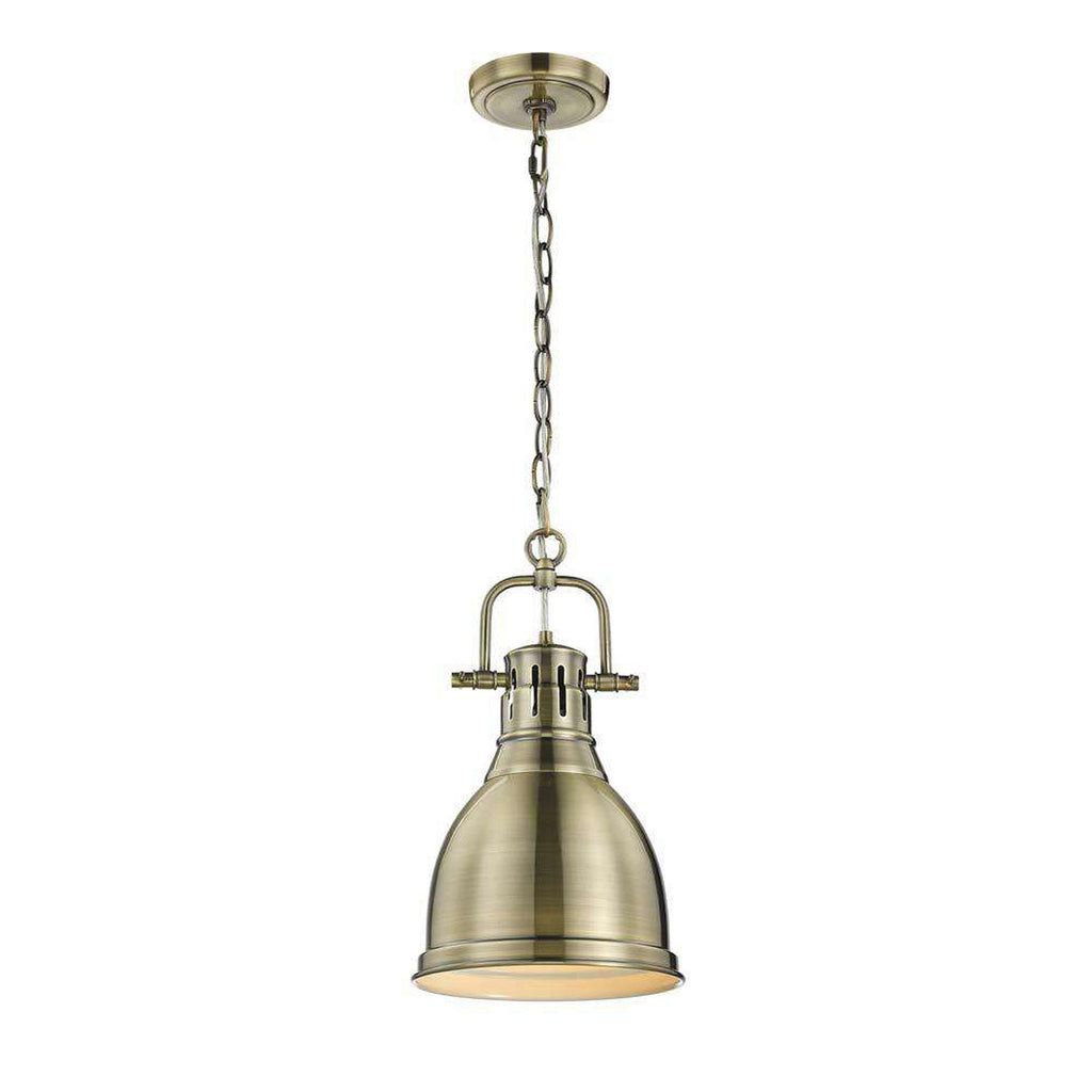 "Duncan 9"" Mini Pendant with Chain in Aged Brass with an Aged Brass Shade"