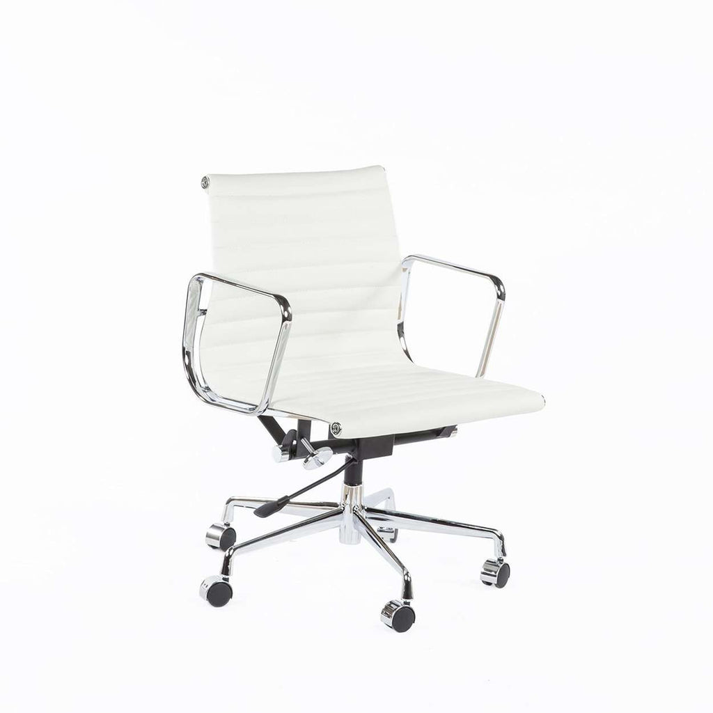 Mid Century Modern Daric Low Back Aluminum Executive Office Chair - White Leather