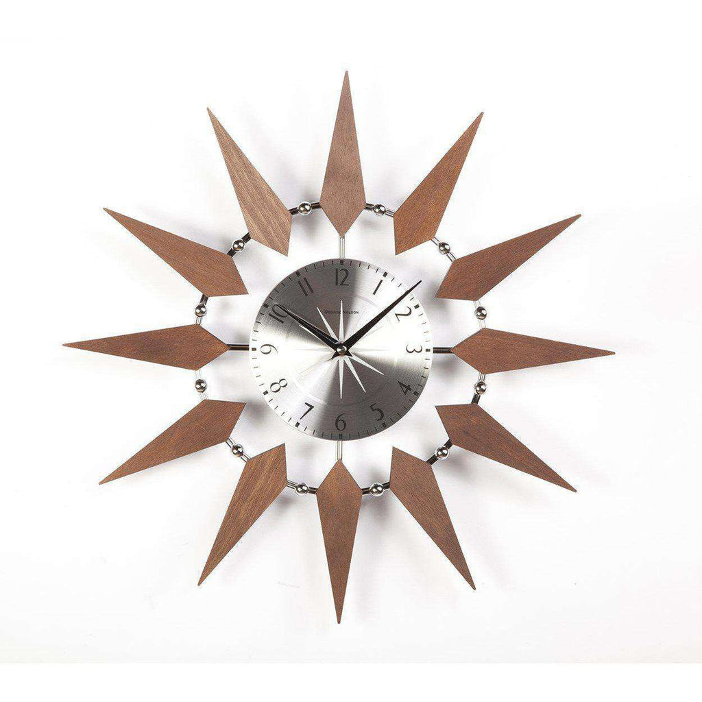 Mid Century Modern Floating Sunburst Clock