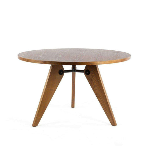 Mid-Century Modern Reproduction Gueridon Dining Table - Round Light Walnut Table Inspired by Jean Prouve