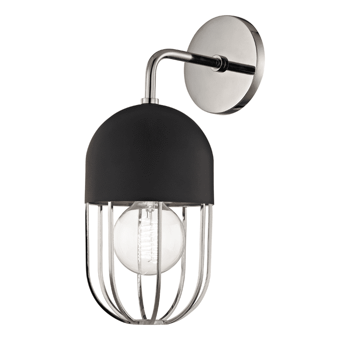 Haley 1 Light Wall Sconce - Polished Nickel/Black