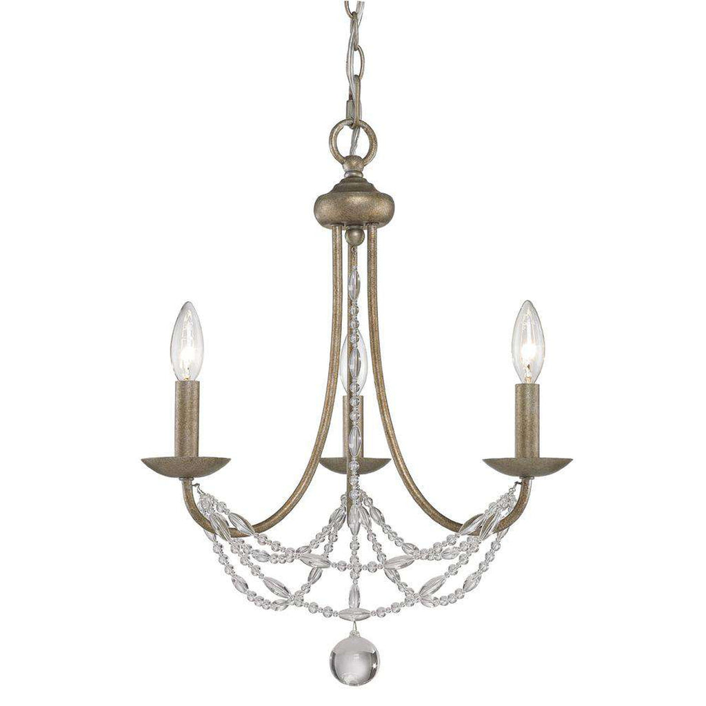 Mirabella 3 Light Mini Chandelier in Golden Aura with Pearl Chiffon Shade