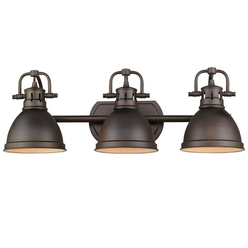 Duncan 3 Light Bath Vanity in Rubbed Bronze with Rubbed Bronze Shades