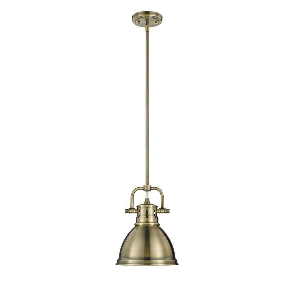 Duncan Mini Pendant with Rod in Aged Brass with an Aged Brass Shade