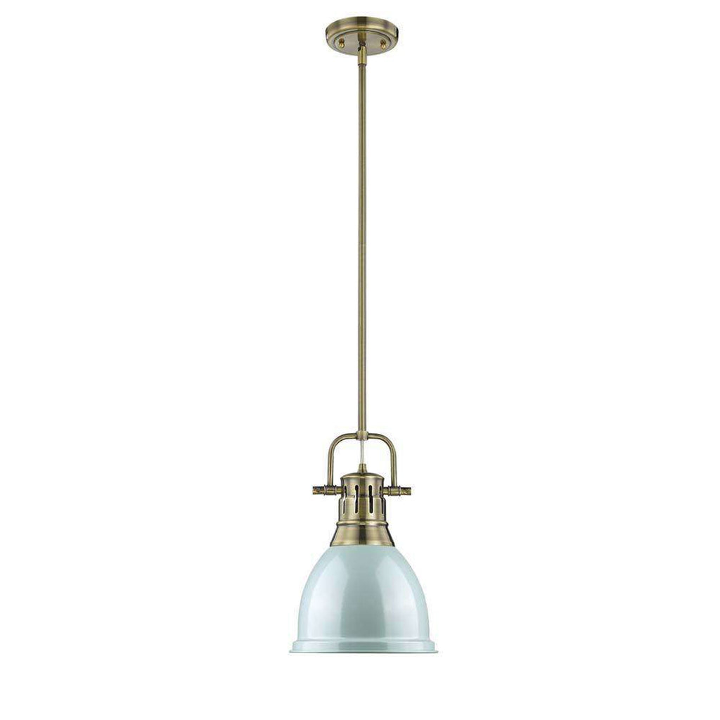 Duncan Small Pendant with Rod in Aged Brass with a Seafoam Shade