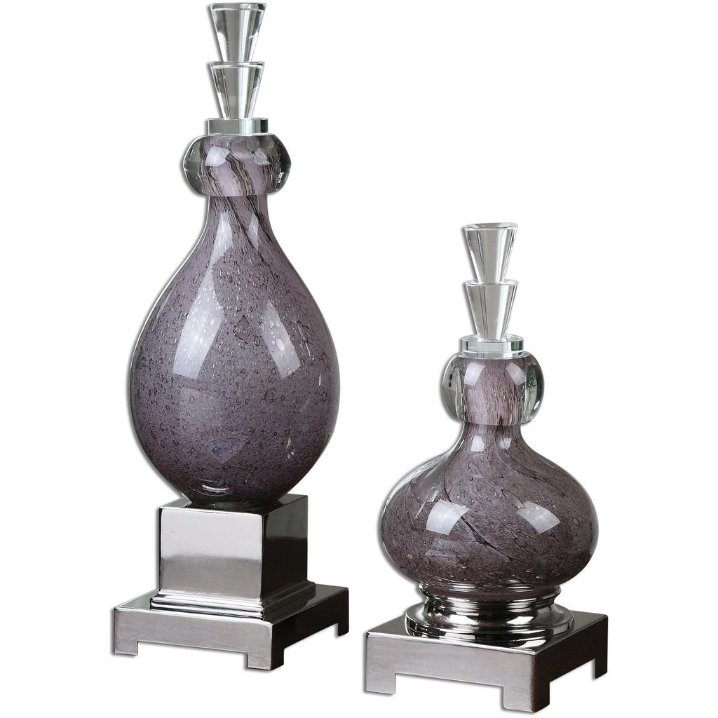 Uttermost Charoite Purple Glass Bottles S/2
