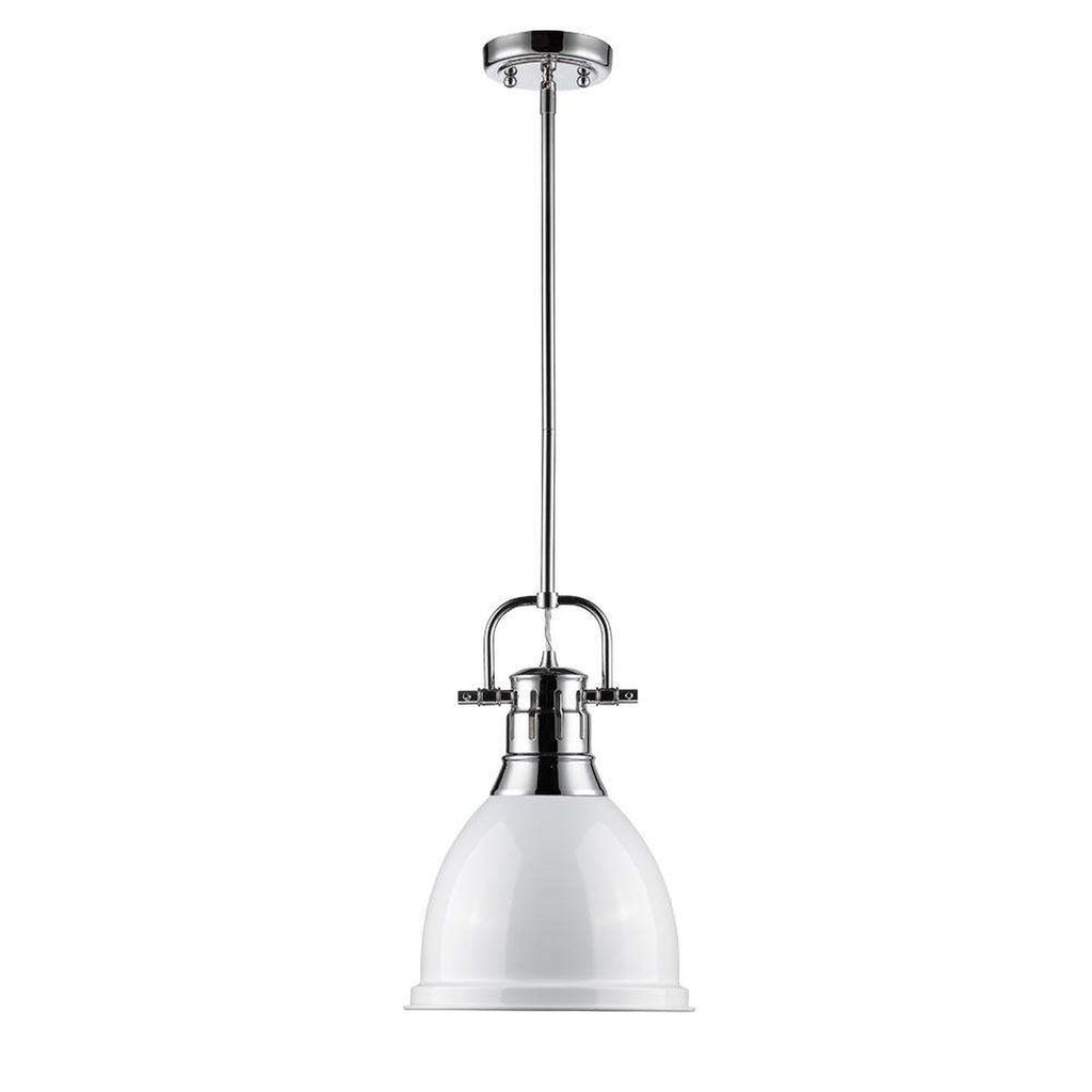 Duncan Small Pendant with Rod in Chrome with a White Shade