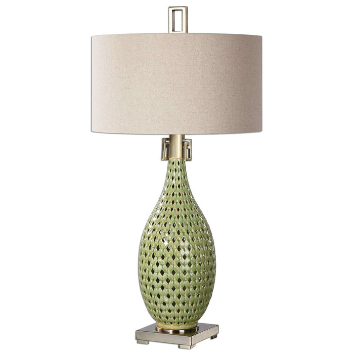 Chamoru Green Glaze Lamp