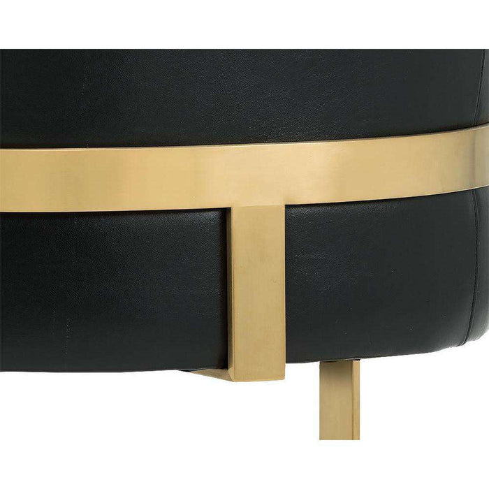 KARISSA CLUB CHAIR - BRUSHED YELLOW GOLD - BLACK LEATHER