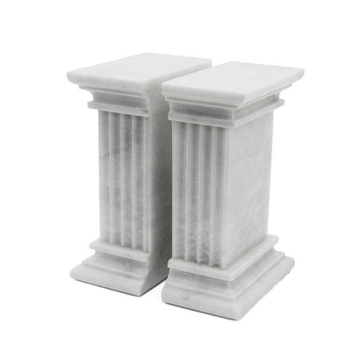 Renaissance Collection Pearl White Marble Bookends
