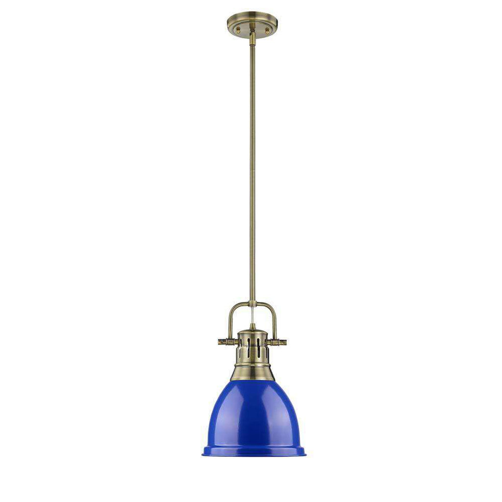 Duncan Small Pendant with Rod in Aged Brass with a Blue Shade