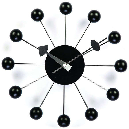 Mid-Century Modern Reproduction Ball Clock - Black Inspired by George Nelson