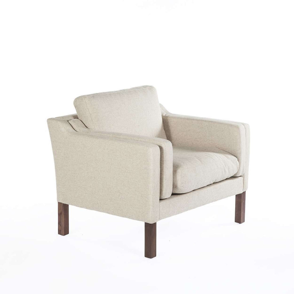 Mid-Century Modern Reproduction Mogensen Lounge Chair - Beige Inspired by Borge Mogensen