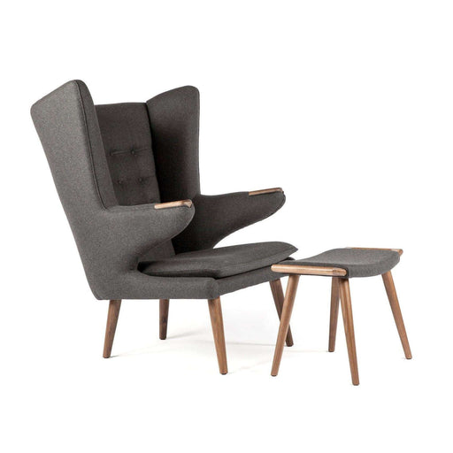 Mid-Century Modern Reproduction PP19 Papa Bear Chair and Ottoman - Dark Grey Inspired by Hans Wegner