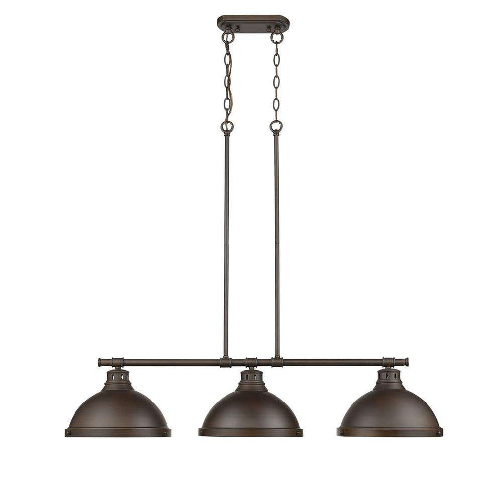 Duncan 3 Light Linear Pendant in Rubbed Bronze with Rubbed Bronze Shades