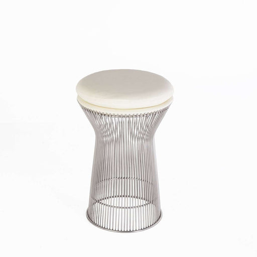 Mid-Century Modern Reproduction Platner Stool - Cream White Leather Inspired by Warren Planter