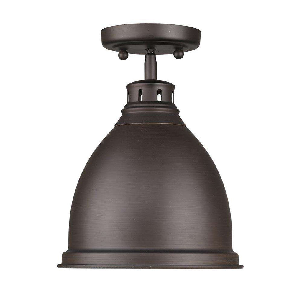 Duncan Flush Mount in Rubbed Bronze with a Rubbed Bronze Shade