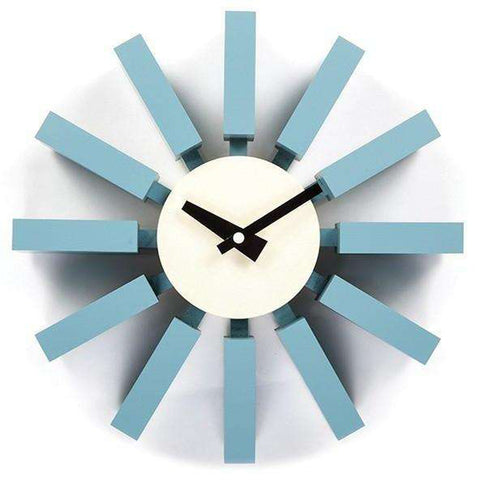 Mid-Century Modern Reproduction Block Clock - Blue Inspired by George Nelson