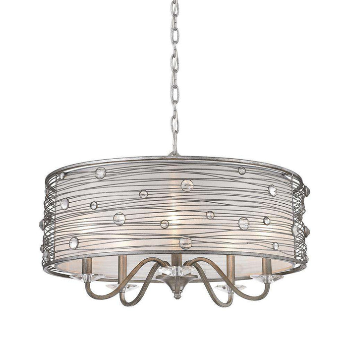 Joia 5 Light Chandelier in Peruvian Silver with Sterling Mist Shade