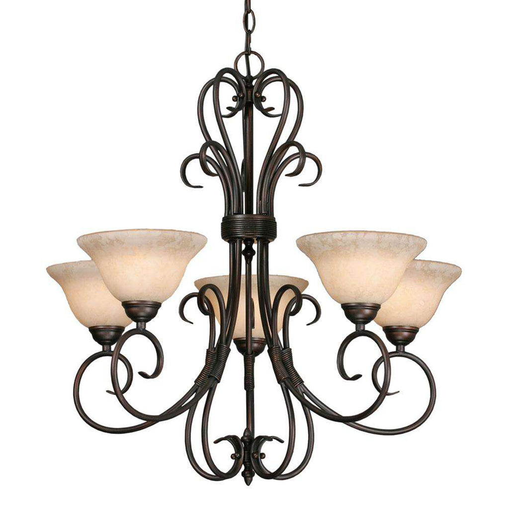 Homestead 5 Light Chandelier in Rubbed Bronze with Tea Stone Glass