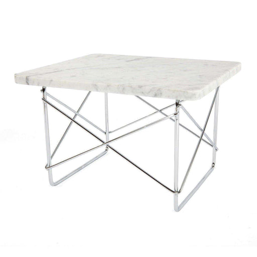 Mid-Century Modern Reproduction Wire Base Low Table - White Marble Inspired by Charles and Ray E.