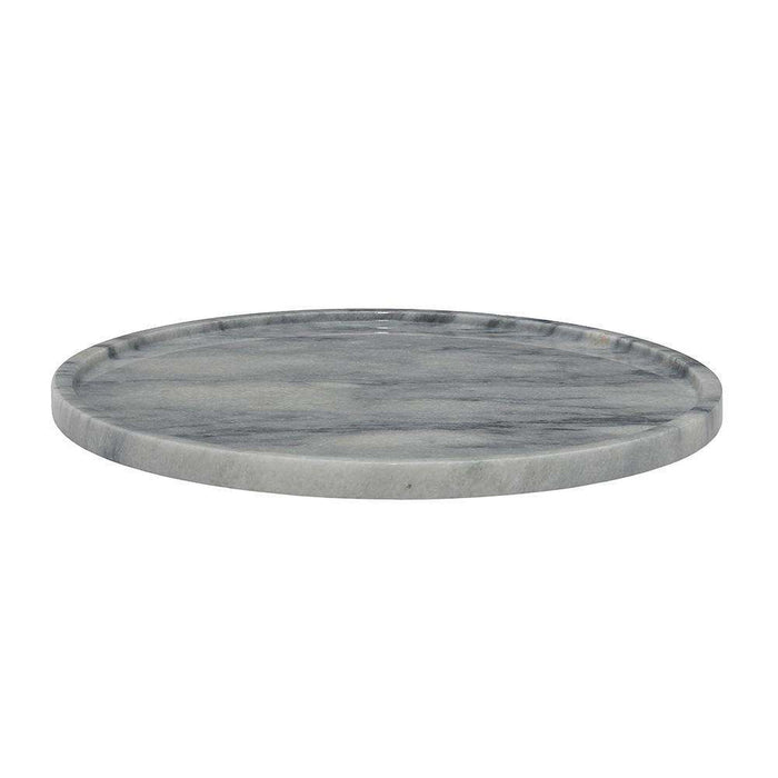 "Cloud Gray 16"" Marble Round Place Tray"